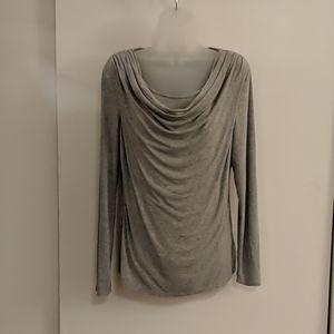 Soft gray cowl bateau neck long sleeve t-shirt